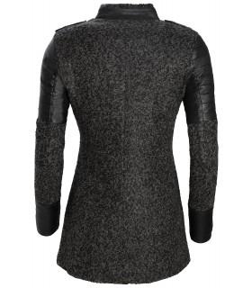 Damen Designer Jacke Wollmantel Damenmantel Grau warm Übergangsjacke D-134