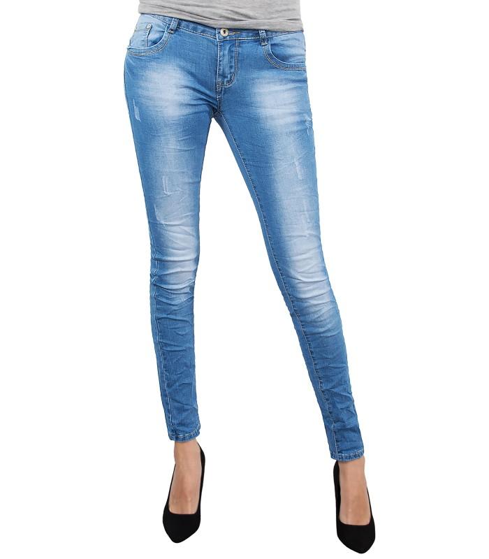 Damen Jeans Hose Skinny Röhrenjeans Used-Style Blau D-151