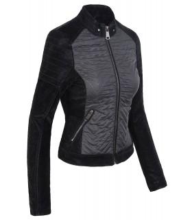 Damen Übergangsjacke mit Kunstleder Ärmeln Damenjacke Wildlederoptik D-189