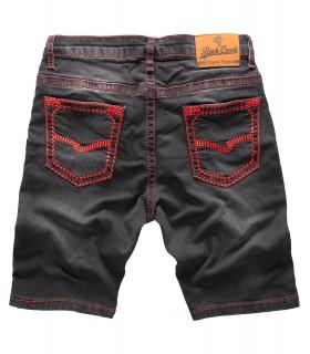 Rock Creek Herren Jeans Shorts Schwarz Dicke Nähte Rot RC-2129