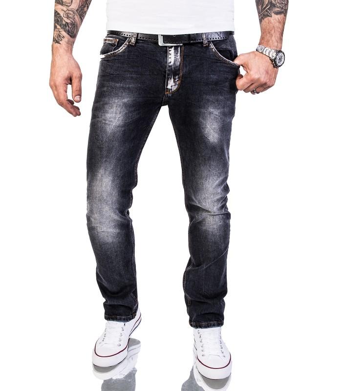 Rock Creek Herren Jeans Slim Fit Schwarz RC 2143
