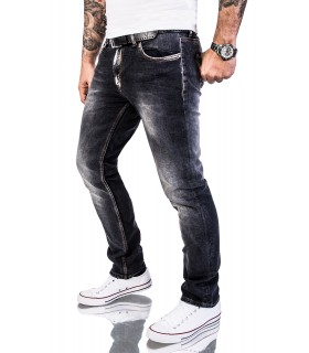 Rock Creek Herren Jeans Slim Fit Hose Schwarz Denim RC-2143