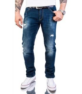 Rock Creek Herren Jeans Slim Fit Hose Destroyed Look Blau RC-2145