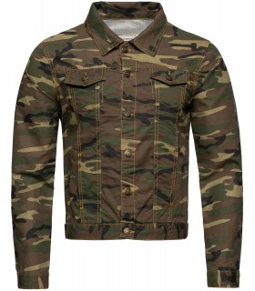 Rock Creek Herren Jeansjacke Army-Look Camouflage RC-2213