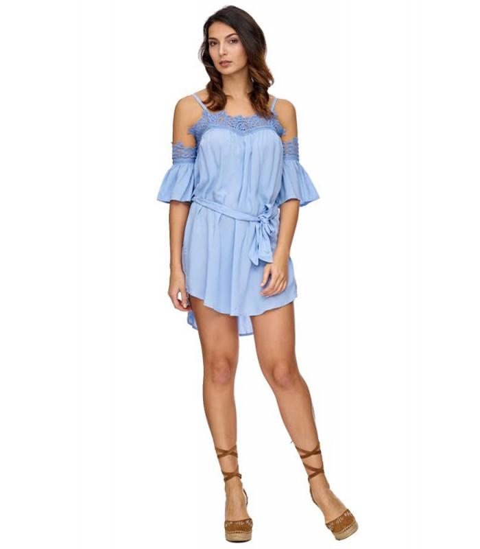 damen kleid trägerkleid mit spitzenbesatz sommerkleid