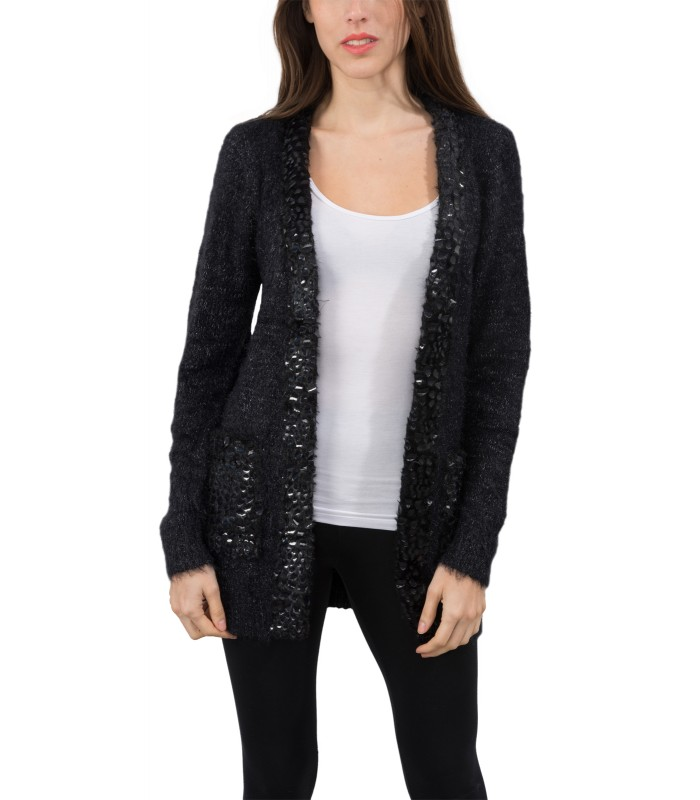 4f9244ca6a Damen Strick Jacke Cardigan Pullover Damenjacke Lang Schwarz kaufen