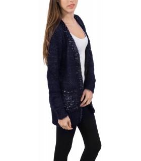 Damen Strick Jacke Cardigan Pullover Damenjacke Lang Schwarz