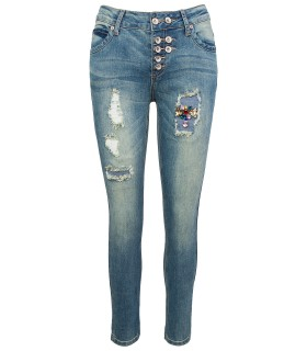 Designer Damen Jeans Hose Denim Blau Slim-Fit D-340