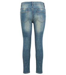 Designer Damen Jeans Hose Denim Blau Slim-Fit Damenjeans Destroyed