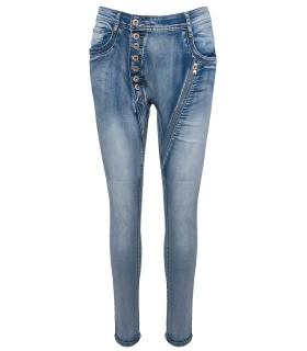 Coole Damen Jeans Hose Knittereffekt Denim Blau Clubwear Jeans X