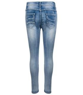 Damen Jeans Hose Knittereffekt Denim Blau Joggjeans D-341