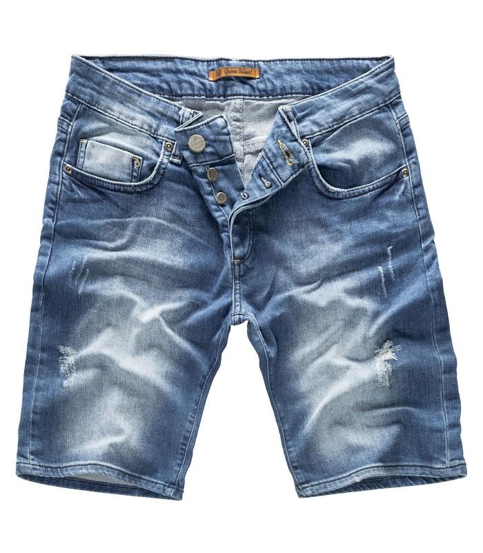 beliebte Geschäfte Farben und auffällig heiß-verkauf freiheit Herren Jeans Shorts Bermudas Denim Sommer Short Blau H-117