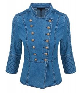 Damen Admiral Jacke Übergangsjacke Blazer Blogger Jeansjacke Blau