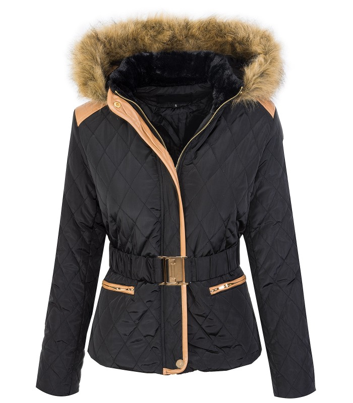 buy popular 12da3 72272 Damen Winter Steppjacke mit Fellkragen Kapuze Gefüttert D-359