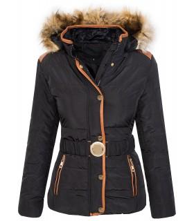 Damen Stepp Winter Jacke warm Damenjacke Kapuze Kunstfellkragen