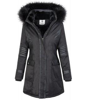 Damen Jacke Outdoor Jacke Mantel Parka Winterjacke Schwarz Gefüttert