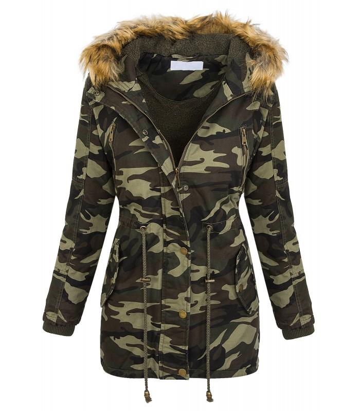 cheaper 1280b 90cb5 Damen Camouflage Winter Jacke Army-Style mit Teddyfleece D-387