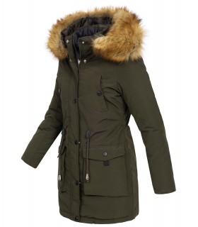 Damen Winter Jacke Parka mit Kapuze Wende-Steppjacke D-428