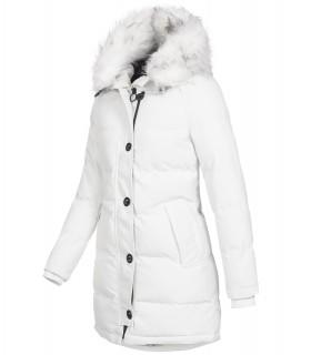 Damen Winterjacke gesteppter Parka mit Kunstfellkragen D-429