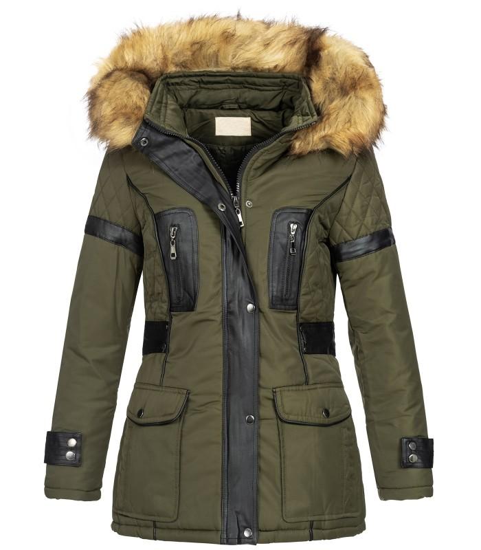 Damen Winter Jacke mit Kapuze Kunstleder-Applikationen D-431