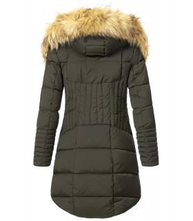 Damen Winter Jacke Steppmantel mit Kunstfellkragen D-434