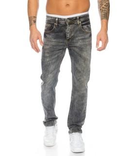 Clubwear Herren Jeans Hose Dunkelgrau Denim Stretch Jeans