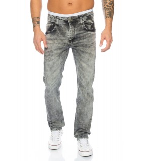 Herren Jeans Denim Vintage Grau Stretch-Jeans Hose Basic