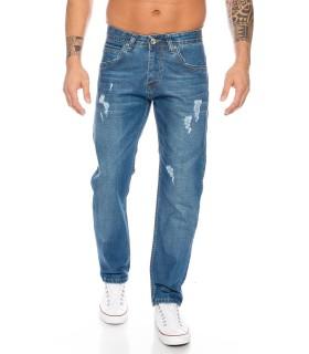 Herren Jeans Hose Denim Used Look Straight-Cut Jeans