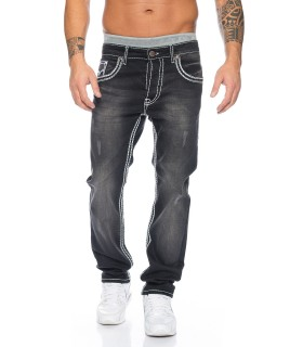 Herren Designer Jeans HOSE Grau dicke NAHT Used Stonewash