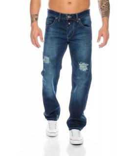 Coole Herren Jeans Denim Hose Destroyed Vintage Wash Raw Blau RC-2016