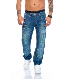 SHIKOBA Herren Jeans Hose Denim Destroyed Look Vintage Blau Straight Cut SH-5004