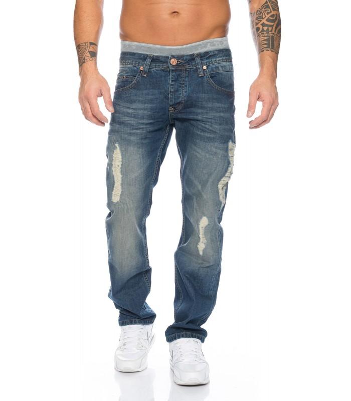 SHIKOBA Herren Jeans Hose Vintage Destroyed Denim Blau Used Look SH-002