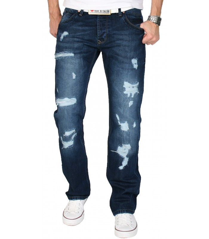 SHIKOBA Herren Jeans Hose Vintage Destroyed Denim Clubwear Used Look SH-001