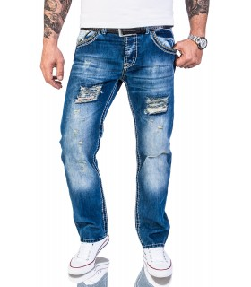 Herren Party Jeans Destroyed CLUBWEAR Vintage Hose Stone Wash