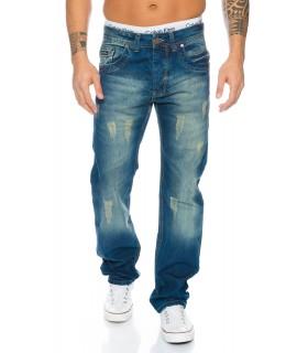 Straight Cut Jeans Herren Hose Denim Komfort Vintage Stonewash Destroyed RC-2040
