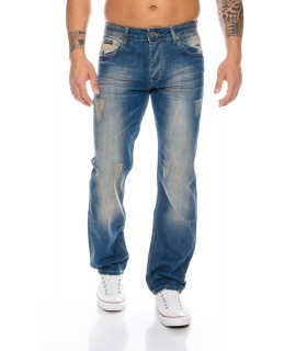 Herren Stonewashed Raw Denim Jeans Hose Blau Regular Fit RC-2007