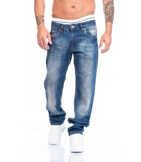 Lorenzo Loren Herren Jeans Denim Hose Blau Regular Straight LL-2519