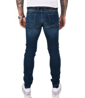 Gelverie Herren Jeans Slim Fit Dunkelblau G-202