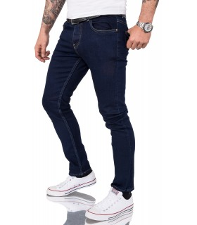Gelverie Herren Jeans Slim Fit Dunkelblau G-102