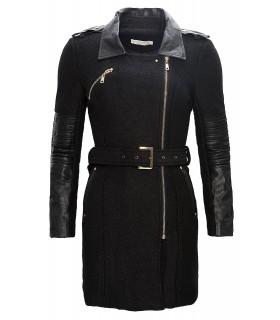 Damen Mantel mit Kunstlederärmeln Schwarz D-87
