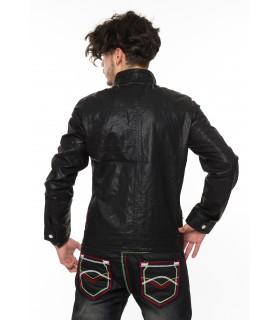 Herren Bikerjacke Leder Jacke Kunstlederjacke Stehkragen mit Knopfleiste