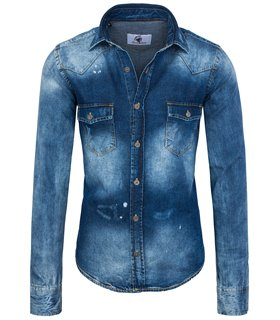 Rock Creek Herren Jeanshemd Kentkragen Blau RC-014