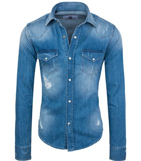 Rock Creek Herren Jeanshemd Kentkragen Blau RC-013