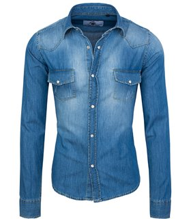 Rock Creek Herren Jeanshemd Blau RC-012