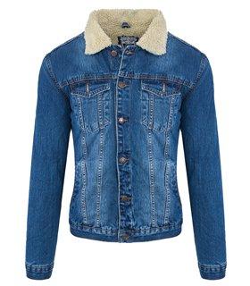 Rock Creek Herren Jeans Jacke mit Tedyfell-Kragen RC-2041
