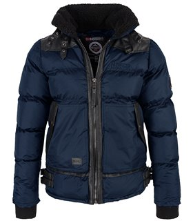 Geographical Norway Herren Stepp Winter Jacke mit Teddyfellkragen H-228