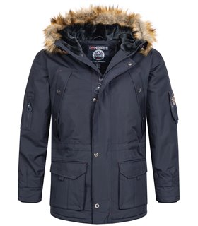 Geographical Norway Herren Winter Jacke Parak mit Kunstfell H-229