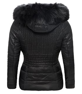 Damen Jacke Steppjacke mit Kapuze Kunstfell-Kragen D-117