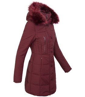 Damen Winter Jacke Steppmantel mit Kapuze Kunsfellkragen D-209