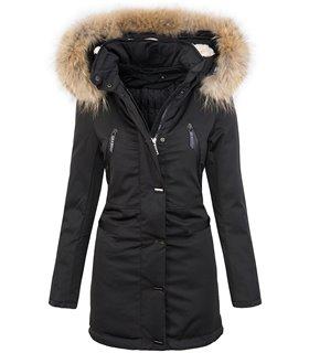 Warme Damen Winter Jacke Parka lang Outdoor Jacke mit Kapuze D-213